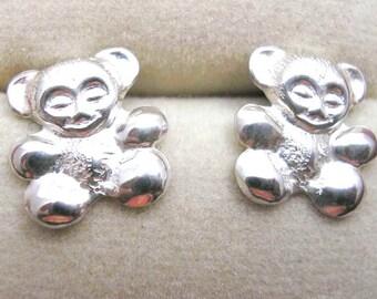 TEDDY BEAR Earrings STUDS Sterling Silver Post