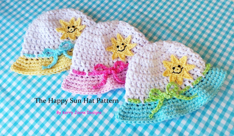 Crochet Pattern HAPPY SUN HAT Baby Summer Hat Pattern Cotton