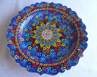 "Platter, Turkish ceramic platter, 12"" Platter, raised floral design, large plate,  blue platter , serving plate, wall art, wedding gift"