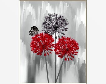 Red Gray Modern Floral Wall Art, Red Bathroom Bedroom Pictures, Red flowers, Matted Wall Art