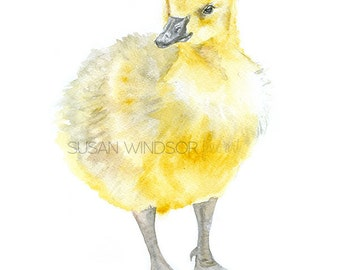 Baby Goose Watercolor Painting Giclee Reproduction 11x14 - Gosling Wall Art - Nursery Print