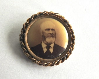 Antique Photo Mourning Brooch