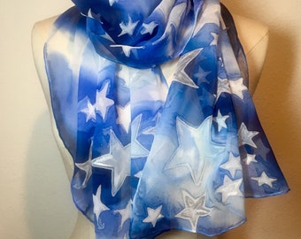Star Spangled Sky, blue and white star scarf, 4th of July, American style, oblong scarf on silk georgette