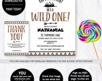 Wild One Birthday, Wild One Invitation, First Birthday, Wild One, Birthday Invitation, Tribal Invitation, Wild One Party, Tribal Birthday