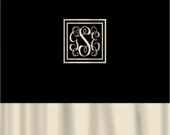 Custom Shower Curtain - Black with Cream bottom border, with or without monogram frame and initials
