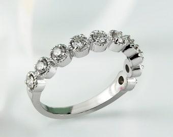 10K Gold 1/3ct TDW Stackable Vintage Diamond Wedding Band