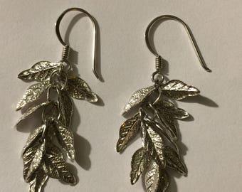 Vintage sterling silver multi leaves dangle earrings 3.4 g