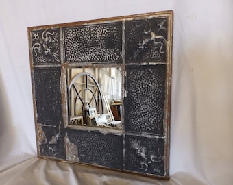 AUTHENTIC Vintage Tin Ceiling Mirror Black Shabby Recycled CHIC 23x23 232-17P