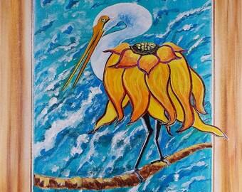 Beach Painting  Crane Painting Sunflower Painting Bird Painting Florida Art  Original Acrylic Painting
