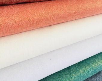 Linen Fabric, Cotton Linen Blend, Essex Yarn Dyed Linen fabric bundle, Metallic Sparkle Fabric, Wedding Decor, Fabric bundle of 6