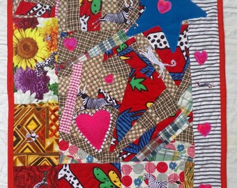 Wall Hanging Art Quilt Out of Africa - Red White Black Pink Fringe - Fancy Trim African Animals - Tribute to Isak Dinesen/Karen Blixen