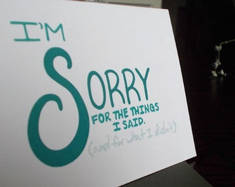 I'm Sorry Hand Lettered Card