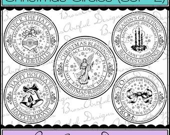 Digital Printable Stamps, Sentiments, Word Art, Clip Art, Card Making, Scrapbooking -Set of 5 -CHRISTMAS CIRCLES -Set 2