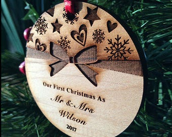 Newlywed Bow-Tie Keepsake Ornament - Personalized Holiday Ornament - Our First Christmas - Just Married - Wood Xmas Ornament - SKU#18E