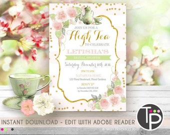 High tea invitation etsy high tea invitation instant download afternoon tea invitation high tea bridal shower filmwisefo Choice Image