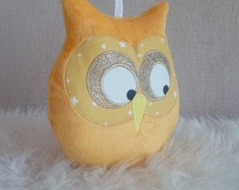 cushion OWL doudou Yellow Sun
