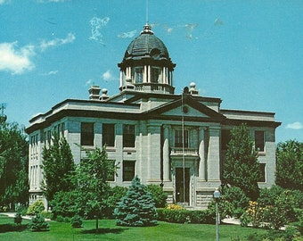 Vintage 1950s Postcard Montana Rosebud County Courthouse Forsyth Court Building Architecture Photochrome Era Postally Unused