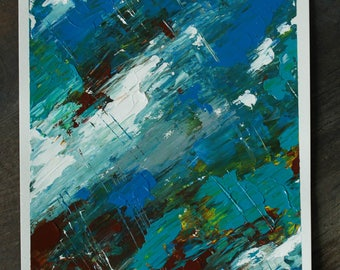 Abstract original acrylic palette knife painting, blue green white