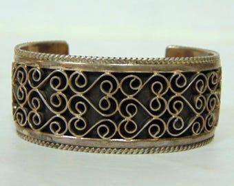 Womens Vintage Estate Ornate Sterling Silver Cuff Bracelet 63.4g E3156