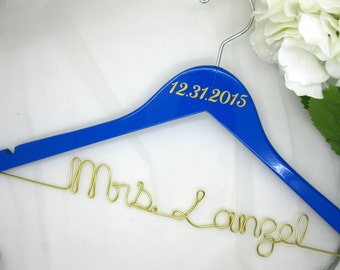 Blue and Gold Wedding Date Hanger with Personalized Wire Name - Custom Painted Wooden Hanger in Navy, Blue