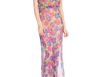 1930s Floral Silk Chiffon Bias Cut High Neck Dress Size: