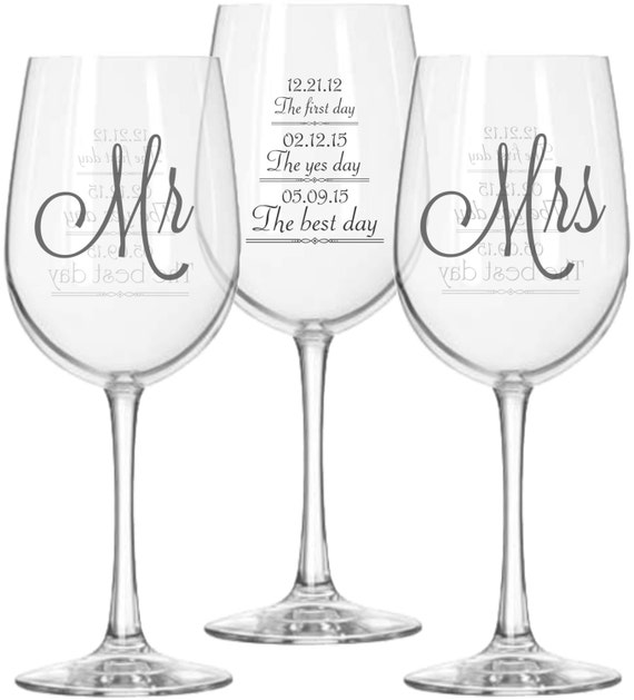 Best Wine For Wedding Gift: Mr And Mrs Wine Glasses 2 With First Day Yes Day And Best