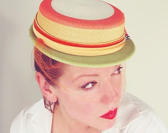 Vintage Fine Straw hat in Melon Orange, Green, Yellow and White with Veil