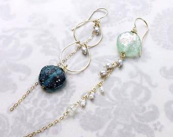 Ancient Roman glass hndmade earrings, asymmetry, 14k Gold Filled Threader Earrings