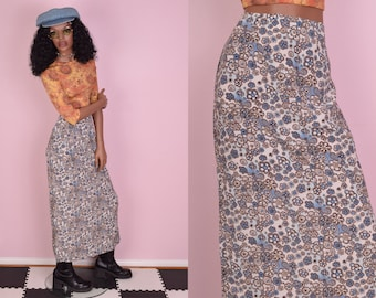 90s Floral Print Maxi Skirt/ US 9/ 1990s