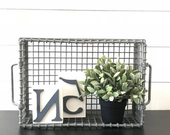 Vintage Metal Wire Basket . Industrial Farmhouse Decor . Kitchen . Fixer Upper . Locker Basket . Milk Crate . Galvanized Zinc