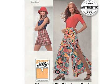 Simplicity Sewing PATTERN 5124 - 1970s Vintage Jiffy Wrap-Tie Shorts + Pants