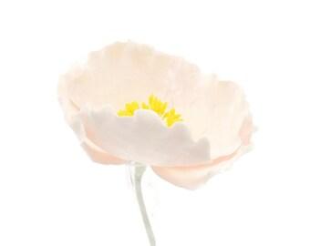 Blush Poppy Sugar Flower for wedding cake toppers, cake decorations, gumpaste flowers, fall weddings, desert weddings, fondant cake topper