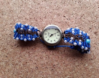Watch Brown and blue macrame beads