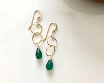 Green onyx natural gemstone teardrop shape lucky green 14kgf  gold handmade healing earring