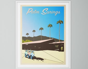 Palm Springs, California. Retro style travel poster print. Mid century modern, wall art.