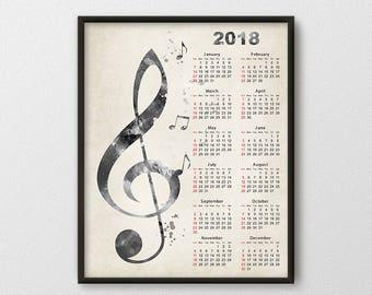 CorCalendar 2018 Music Instrument Calendar Print Music