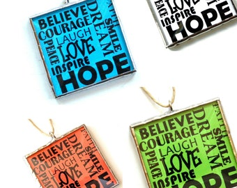 Inspirational words, positive influence, motivational, cubicle decor, word art, believe ornament, typography art, encouragement