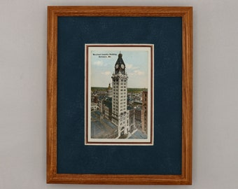 Maryland Casualty Building Baltimore antique postcard print double matted 8x10 size. Framed ready to hang early 1900s one of a kind wall art