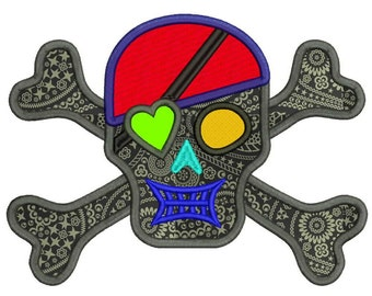 Applique Pirate Skull and Crossbones Machine Embroidery Design - 5 Sizes