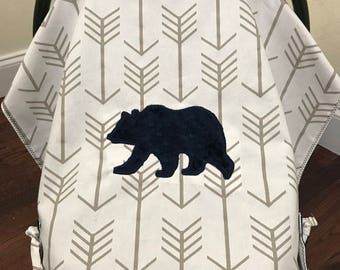 Baby Car Seat Canopy, Baby Car Seat Tent,Baby Shower Gift, Arrows,Navy Minky Bear,Baby Boy Shower Gift, Newborn Shower Gift, Woodlands