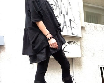 SALE Oversize Black Linen  Loose Casual Set of 2 Tops / Asymmetrical Combo Tunic and Top / Extravagant Dresses A12128