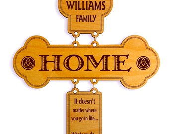 Personalized Family Sign Cross Gift - Last Name Gift - Wedding Couple Gift- Housewarming Gift - Anniversary Gift - Home Decor