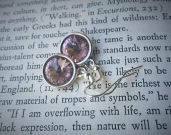 Swarovski Crystal Vintage Rose Rivoli Earrings 10mm