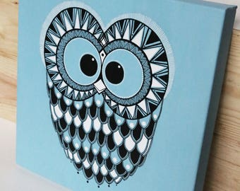 Velyne - Graphic OWL - owl drawing - painting handmade painting - Art