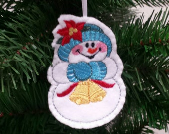 Embroidered Snowman ornament - Snowman christmas ornament - Embroidered felt ornament - christmas ornament -Christmas gift