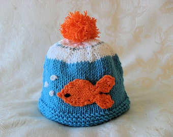 Pet Goldfish in a Bowl Knitted Baby Hat Knitting Knit Baby Beanie  Baby Hat Knitted Baby Hat Knitted Beanie Knit hat Children Clothing