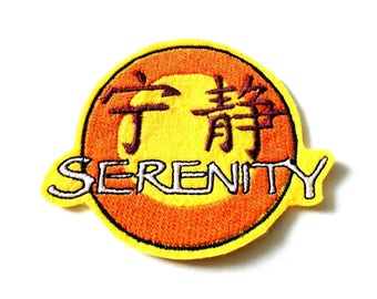 Serenity embroidered iron on patch