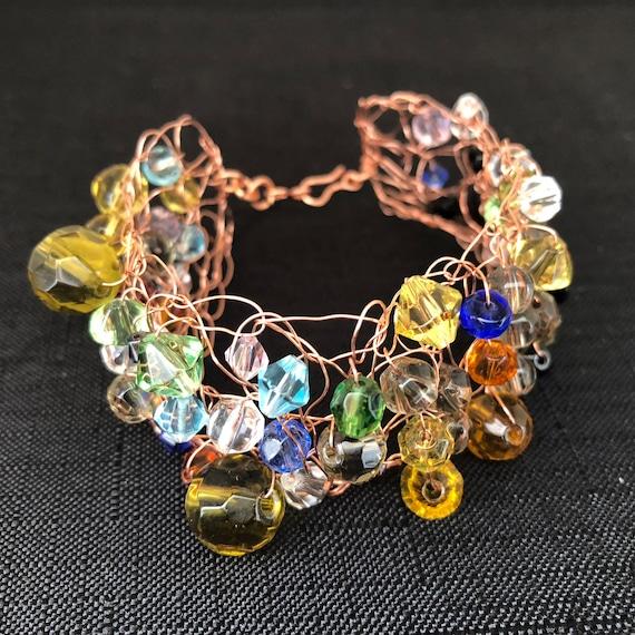 SJC10310 - Handmade copper wire crochet cuff bracelet with multicolor glass beads