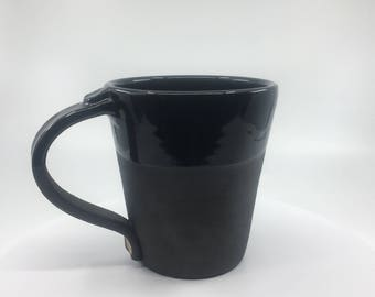 Gloss & matte black Coffee Mug - large - handthrown stoneware
