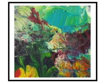 Abstract pour Painting Contemporary Art original Acrylics Modern green blue orange yellow fluid painting - Submerge by Robert McConvey